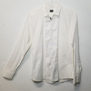 GAZZARRINI White Button Dress Shirt XL